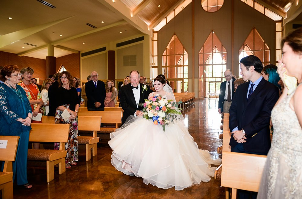 Bride and her dad walking down the aisle, Romantic Catholic Wedding, Pensacola Florida Wedding Photographer, Lazzat Photography