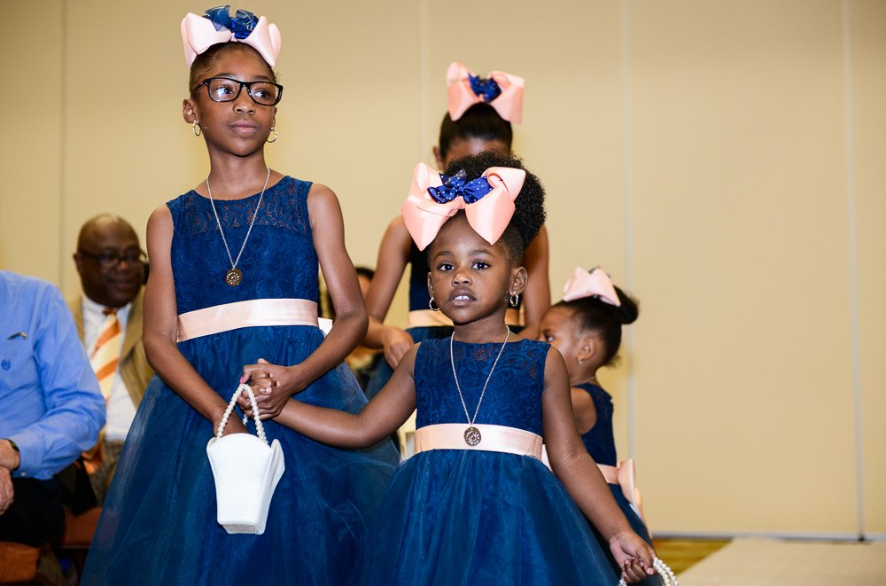 Flower girls walking down the aisle, Blue and Pink Wedding, The Soundside Club, Elegant Ballroom Wedding, Lazzat Photography, Florida Wedding Photography