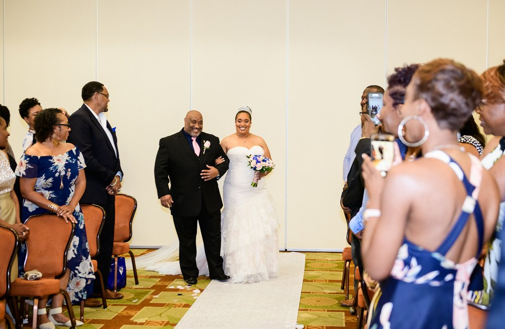 Bride's dad walking her down the aisle, Blue and Pink Wedding, The Soundside Club, Elegant Ballroom Wedding, Lazzat Photography, Florida Wedding Photography