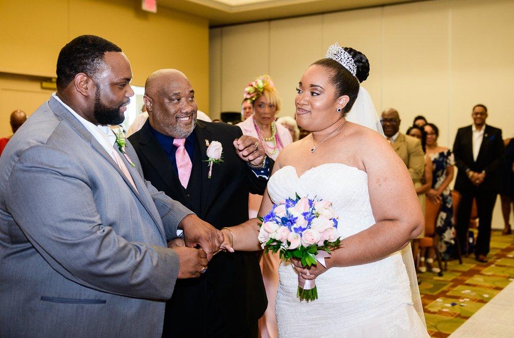 Bride's dad giving her away, Blue and Pink Wedding, The Soundside Club, Elegant Ballroom Wedding, Lazzat Photography, Florida Wedding Photography