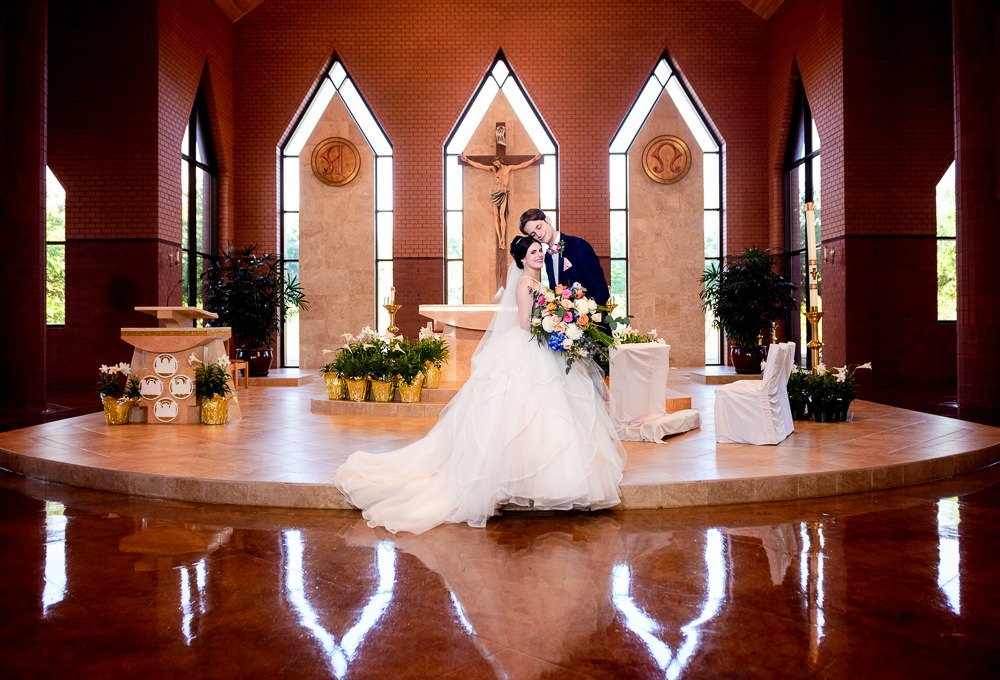 Bride and Groom after their wedding in their church, Romantic Catholic Wedding, Pensacola Florida Wedding Photographer, Lazzat Photography