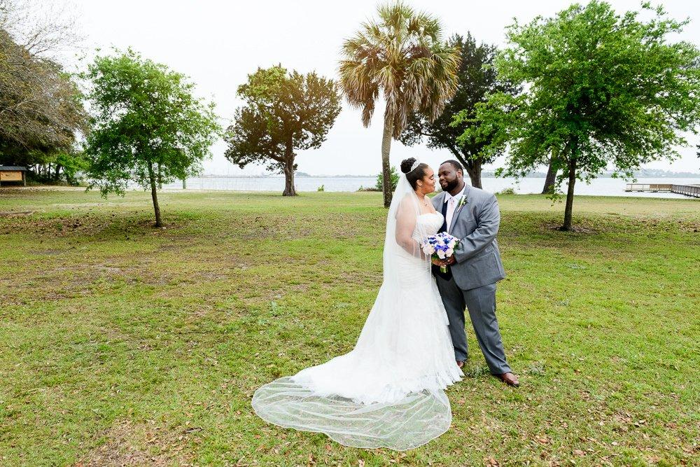 Bride and Groom portrait outside, Blue and Pink Wedding, The Soundside Club, Elegant Ballroom Wedding, Lazzat Photography, Florida Wedding Photography
