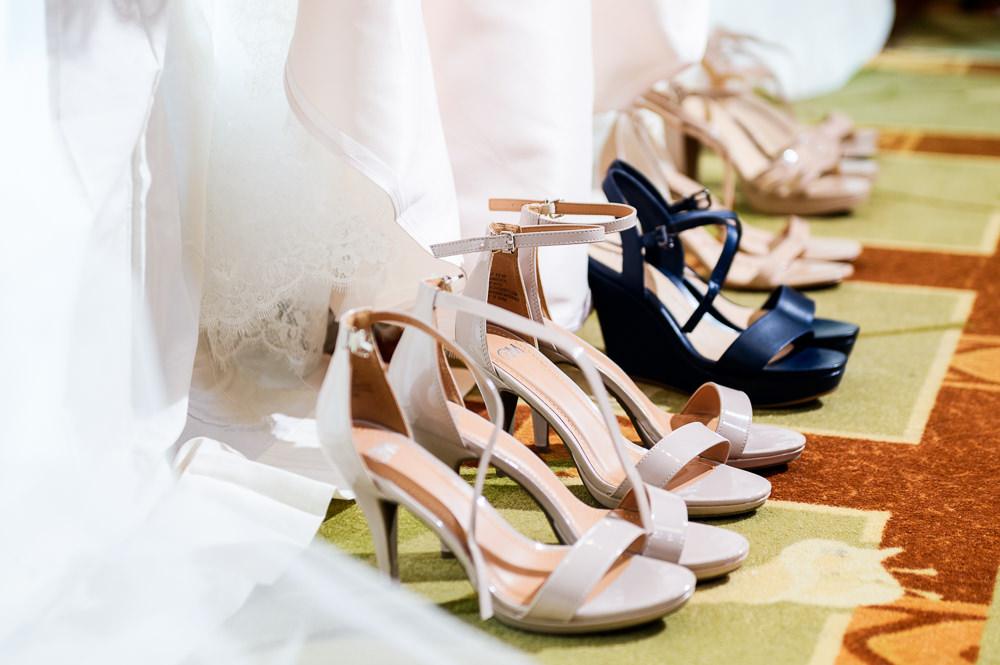 Bride and Bridesmaid's shoes, Blue and Pink Wedding, The Soundside Club, Elegant Ballroom Wedding, Lazzat Photography, Florida Wedding Photography