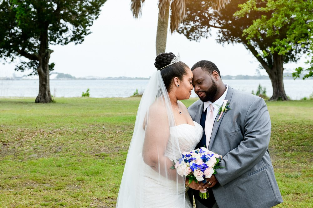 Bride and Groom head to head outside, Blue and Pink Wedding, The Soundside Club, Elegant Ballroom Wedding, Lazzat Photography, Florida Wedding Photography