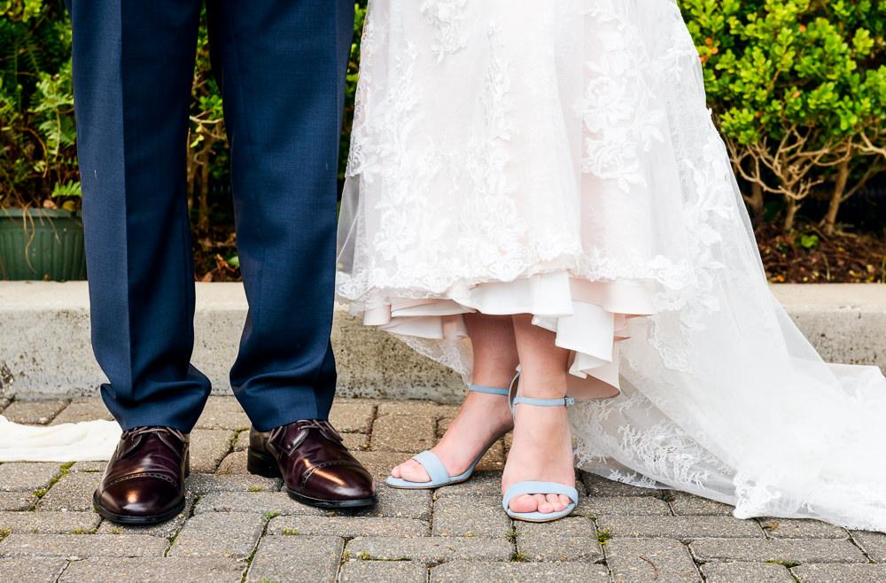 Close up of Bide and Groom's feet at 5Eleven Palafox, Classic Pensacola Wedding, Lazzat Photography, Florida Wedding Photographer