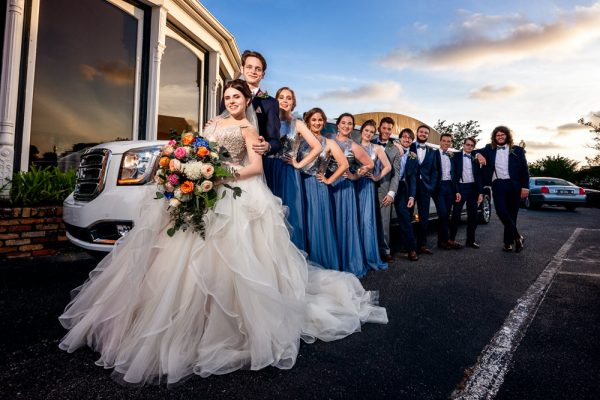 Bride and Groom with their wedding party by their limo, Romantic Catholic Wedding, Pensacola Florida Wedding Photographer, Lazzat Photography