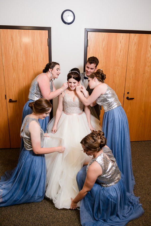 Bridesmaids dressing Bride, Romantic Catholic Wedding, Pensacola Florida Wedding Photographer, Lazzat Photography