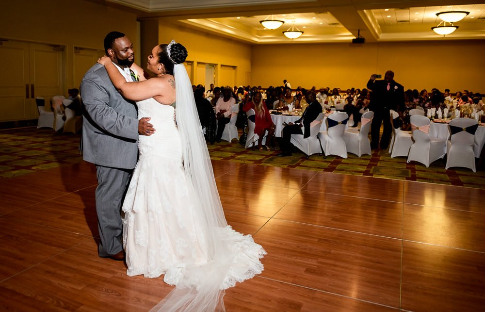 Bride and Groom's first dance in the ballroom, Blue and Pink Wedding, The Soundside Club, Elegant Ballroom Wedding, Lazzat Photography, Florida Wedding Photography