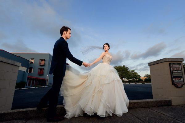 Bride leading Groom down the road, Romantic Catholic Wedding, Pensacola Florida Wedding Photographer, Lazzat Photography