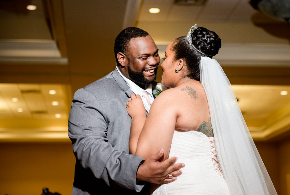 Close up of Bride and Groom's first dance, Blue and Pink Wedding, The Soundside Club, Elegant Ballroom Wedding, Lazzat Photography, Florida Wedding Photography