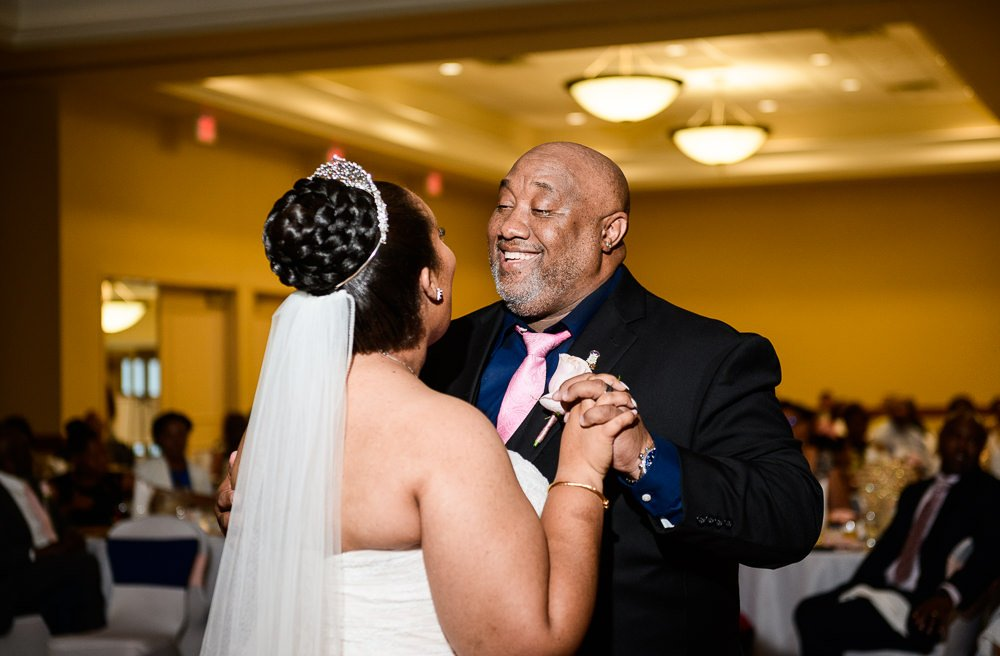 Bride dancing with her dad, Blue and Pink Wedding, The Soundside Club, Elegant Ballroom Wedding, Lazzat Photography, Florida Wedding Photography