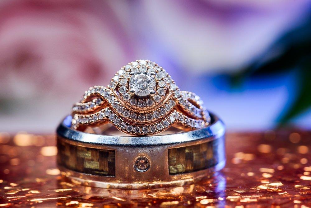 Wedding rings, Blue and Pink Wedding, The Soundside Club, Elegant Ballroom Wedding, Lazzat Photography, Florida Wedding Photography