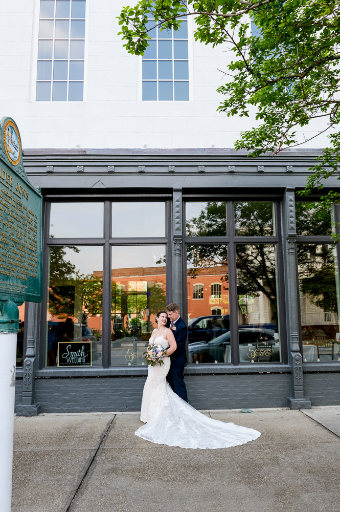 Bride and Groom outside of 5Eleven Palafox, Classic Pensacola Wedding, Lazzat Photography, Florida Wedding Photographer