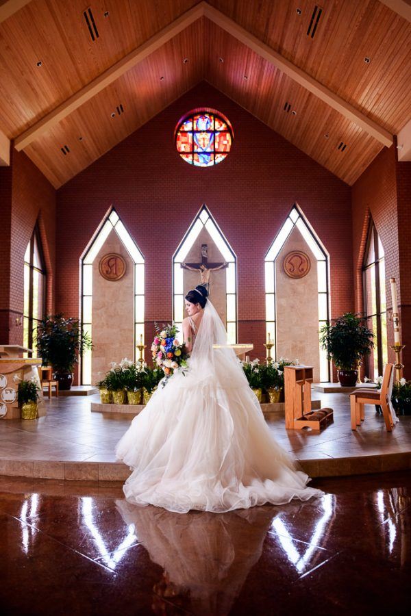 Bridal portrait in the church, Romantic Catholic Wedding, Pensacola Florida Wedding Photographer, Lazzat Photography