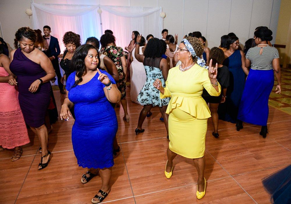 Sorority sisters dancing, Zeta Phi Beta Sorority Incorporated, Blue and Pink Wedding, The Soundside Club, Elegant Ballroom Wedding, Lazzat Photography, Florida Wedding Photography
