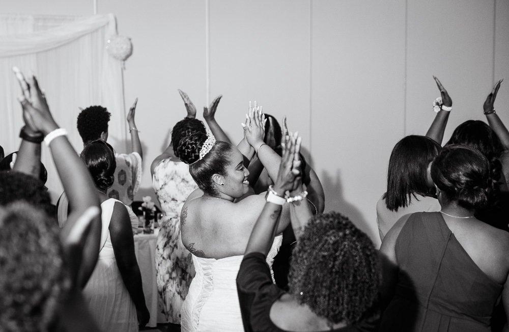 Bride dancing with her sorority sisters, Zeta Phi Beta Sorority Incorporated, black and white, Blue and Pink Wedding, The Soundside Club, Elegant Ballroom Wedding, Lazzat Photography, Florida Wedding Photography