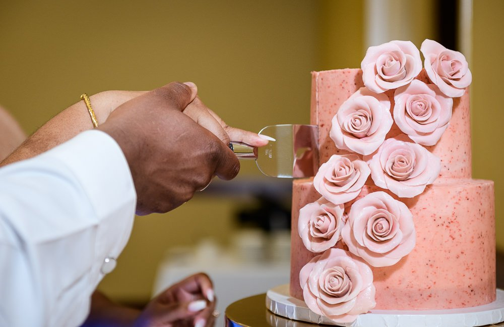 Close up of the Bride and Groom cutting the cake, Blue and Pink Wedding, The Soundside Club, Elegant Ballroom Wedding, Lazzat Photography, Florida Wedding Photography