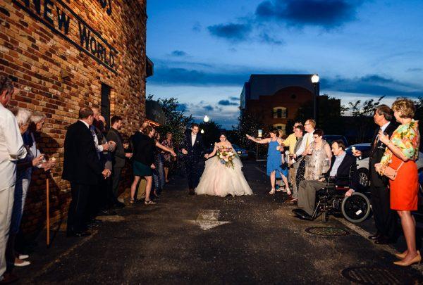 Bride and Groom's confetti entrance, Romantic Catholic Wedding, Pensacola Florida Wedding Photographer, Lazzat Photography