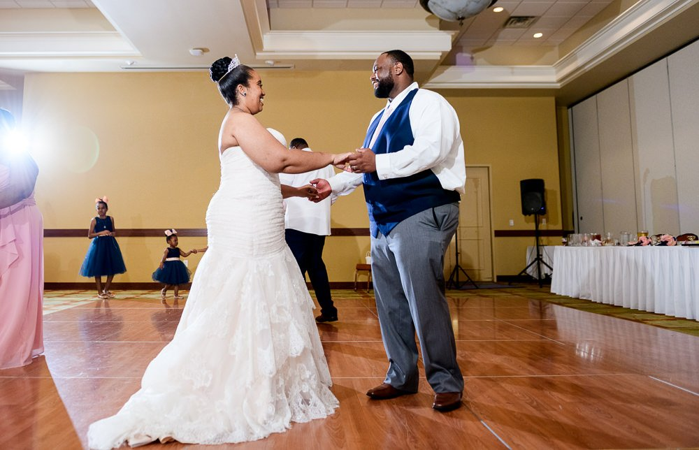 Bride and Groom dancing, Blue and Pink Wedding, The Soundside Club, Elegant Ballroom Wedding, Lazzat Photography, Florida Wedding Photography