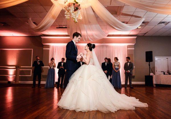 Bride and Groom's first dance, Romantic Catholic Wedding, Pensacola Florida Wedding Photographer, Lazzat Photography