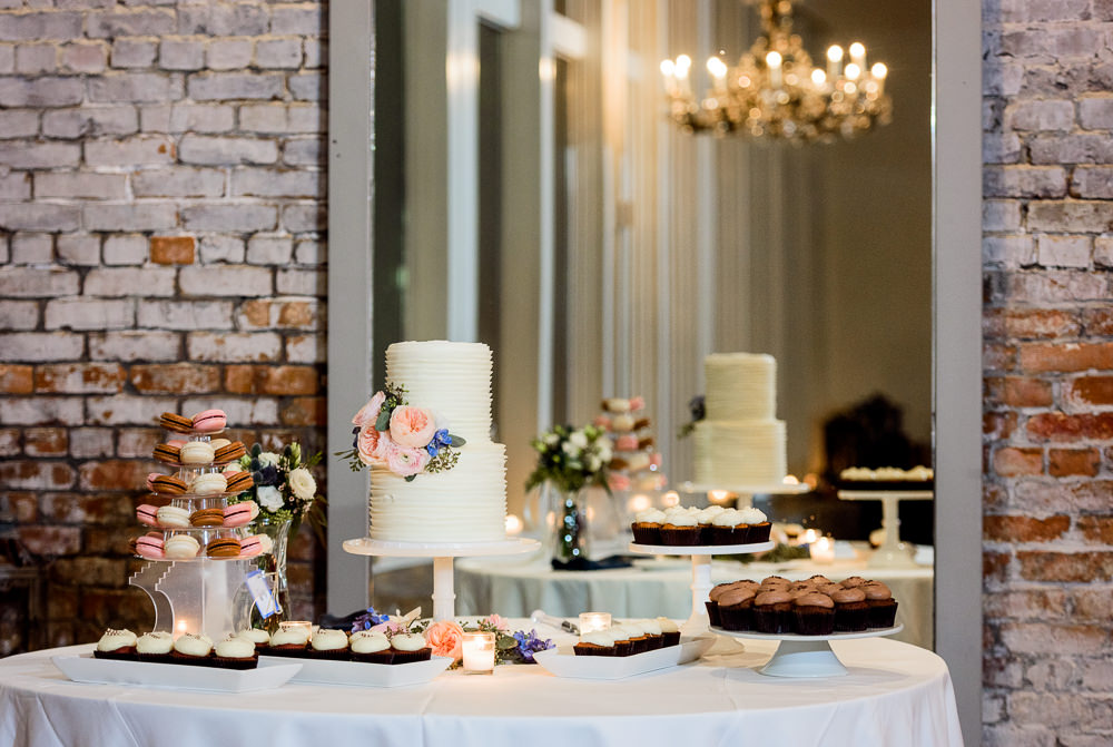 White wedding cake and desert table, 5Eleven Palafox, Classic Pensacola Wedding, Lazzat Photography, Florida Wedding Photographer