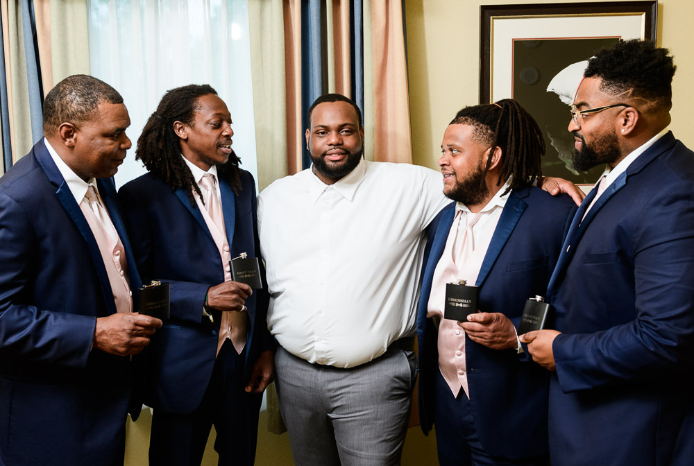 Groom and Groomsmen with their flasks, Blue and Pink Wedding, The Soundside Club, Elegant Ballroom Wedding, Lazzat Photography, Florida Wedding Photography