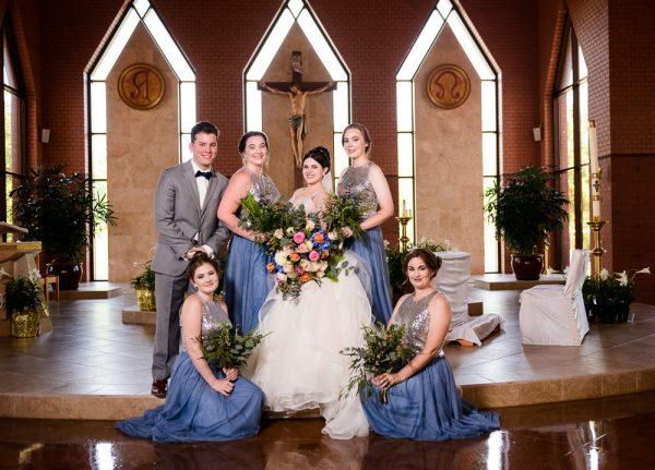 Bridesmaids and Bridesman surrounding Bride, Romantic Catholic Wedding, Pensacola Florida Wedding Photographer, Lazzat Photography