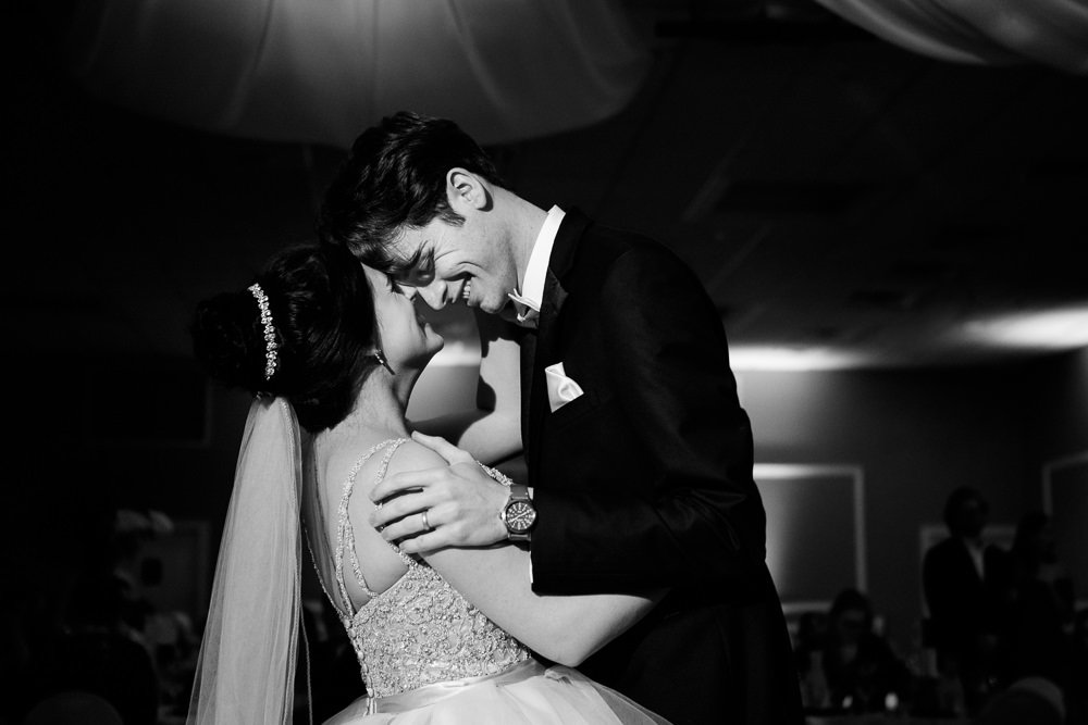Bride and Groom's first dance black and white, Romantic Catholic Wedding, Pensacola Florida Wedding Photographer, Lazzat Photography
