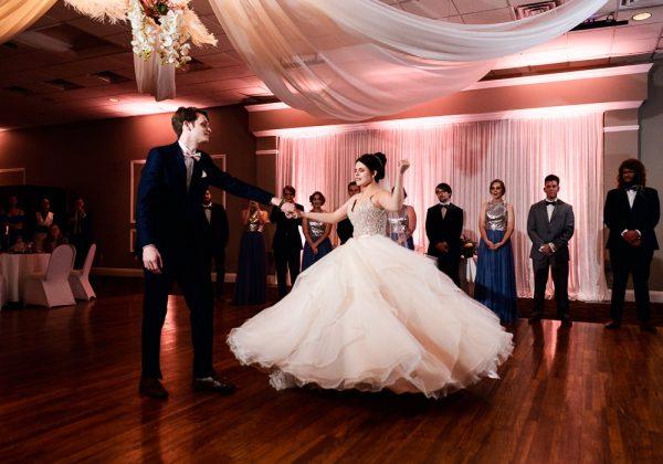 Groom spinning Bride during first dance, Romantic Catholic Wedding, Pensacola Florida Wedding Photographer, Lazzat Photography