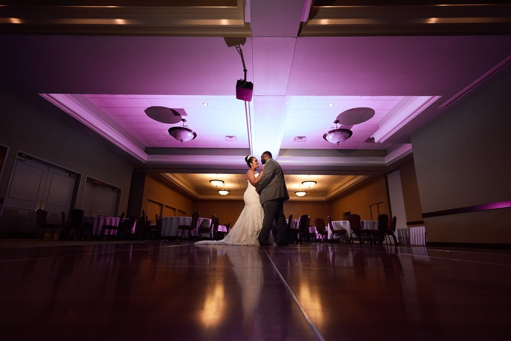Bride and Groom dancing after their wedding, Blue and Pink Wedding, The Soundside Club, Elegant Ballroom Wedding, Lazzat Photography, Florida Wedding Photography