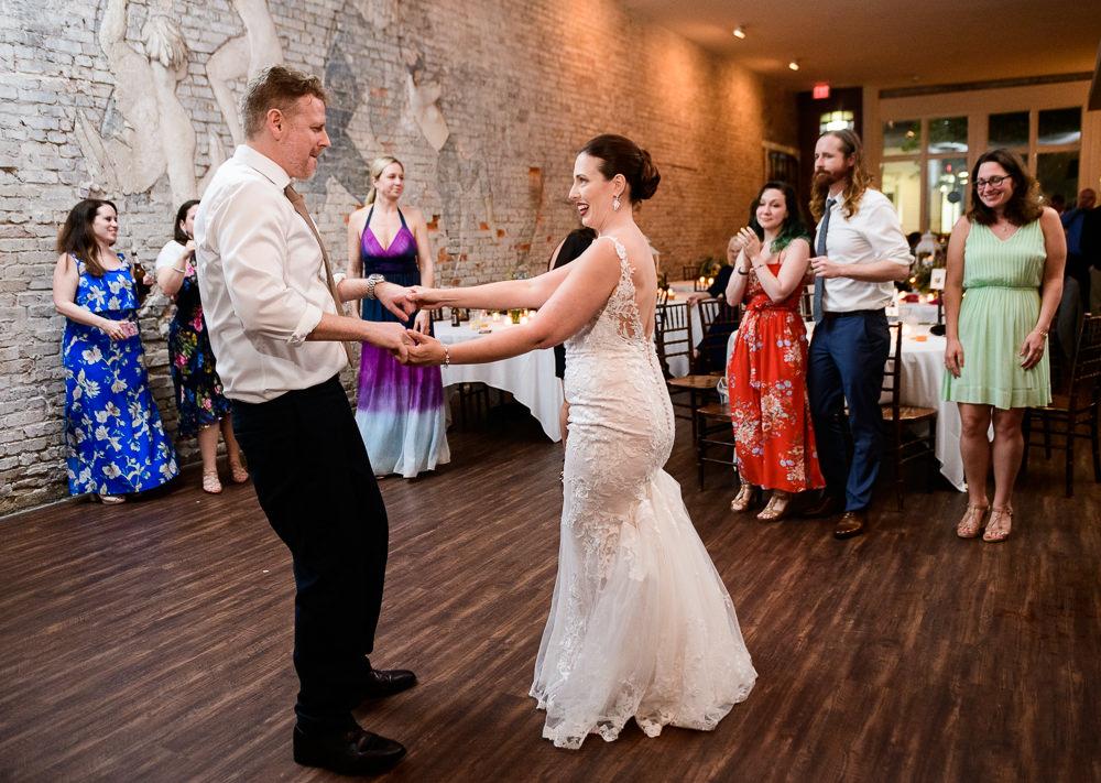 Bride and Groom dancing, 5Eleven Palafox, Classic Pensacola Wedding, Lazzat Photography, Florida Wedding Photographer