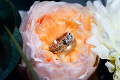 Bride and Groom's rings in a flower, Romantic Catholic Wedding, Pensacola Florida Wedding Photographer, Lazzat Photography