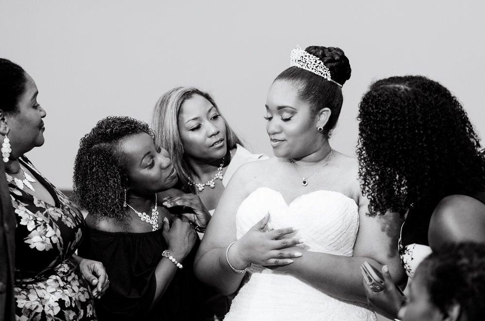 Bride talking with her sorority sisters, Zeta Phi Beta Sorority Incorporated, black and white, Blue and Pink Wedding, The Soundside Club, Elegant Ballroom Wedding, Lazzat Photography, Florida Wedding Photography
