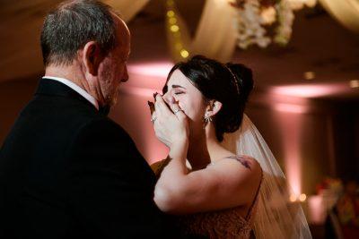 Bride crying during father daughter dance, Romantic Catholic Wedding, Pensacola Florida Wedding Photographer, Lazzat Photography