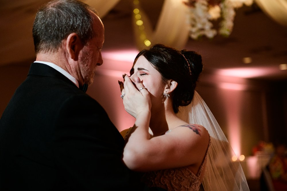 Bride crying during father daughter dance, Romantic Catholic Wedding, Pensacola Florida Wedding Photographer, Lazzat Photography
