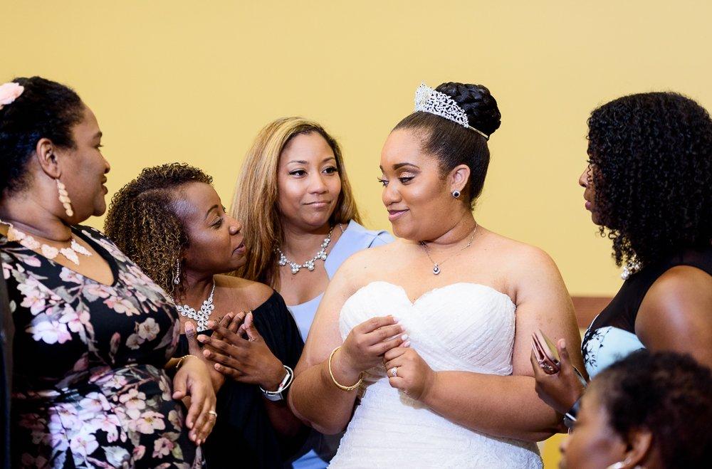 Bride talking with her sorority sisters, Zeta Phi Beta Sorority Incorporated, Blue and Pink Wedding, The Soundside Club, Elegant Ballroom Wedding, Lazzat Photography, Florida Wedding Photography