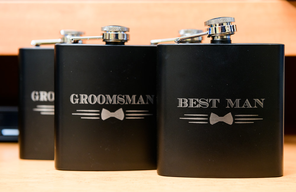 Groomsmen and Best Man flasks, Blue and Pink Wedding, The Soundside Club, Elegant Ballroom Wedding, Lazzat Photography, Florida Wedding Photography