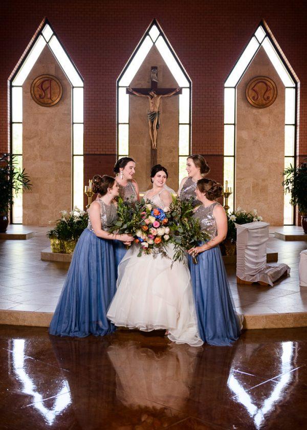 Bridesmaids surrounding Bride, Romantic Catholic Wedding, Pensacola Florida Wedding Photographer, Lazzat Photography
