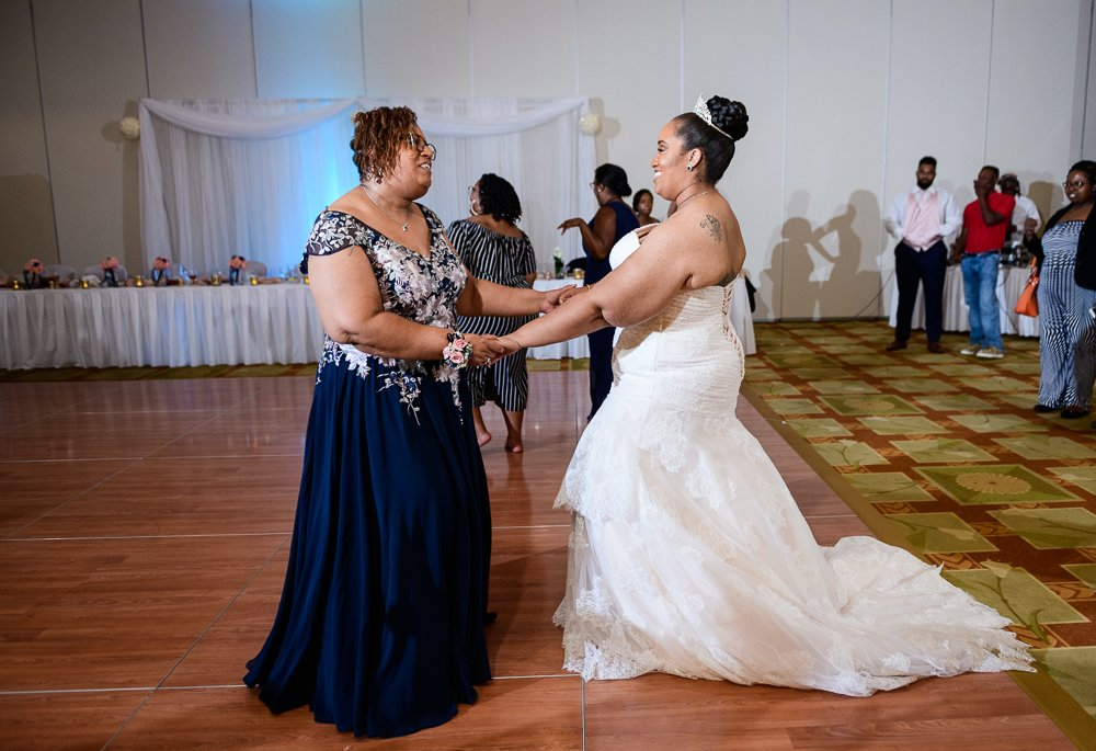 Bride dancing with her mom, Blue and Pink Wedding, The Soundside Club, Elegant Ballroom Wedding, Lazzat Photography, Florida Wedding Photography