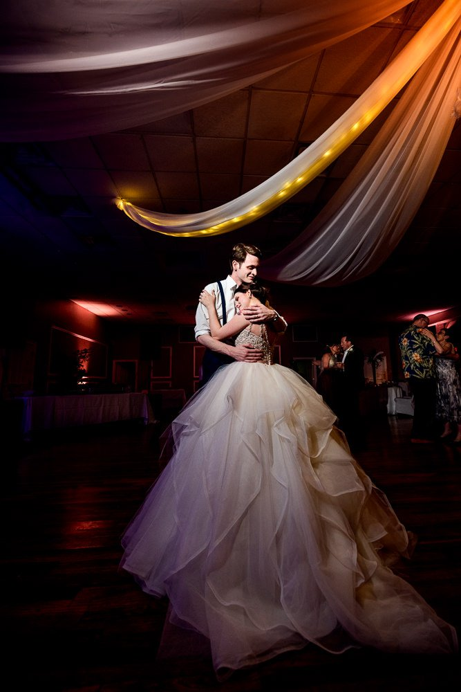 Bride and Groom dancing at their reception, ballgown wedding dress, Romantic Catholic Wedding, Pensacola Florida Wedding Photographer, Lazzat Photography
