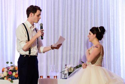 Groom reading his vows to his Bride at the reception, Romantic Catholic Wedding, Pensacola Florida Wedding Photographer, Lazzat Photography