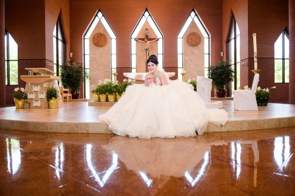 Bride hugging her gift from her Groom, Romantic Catholic Wedding, Pensacola Florida Wedding Photographer, Lazzat Photography