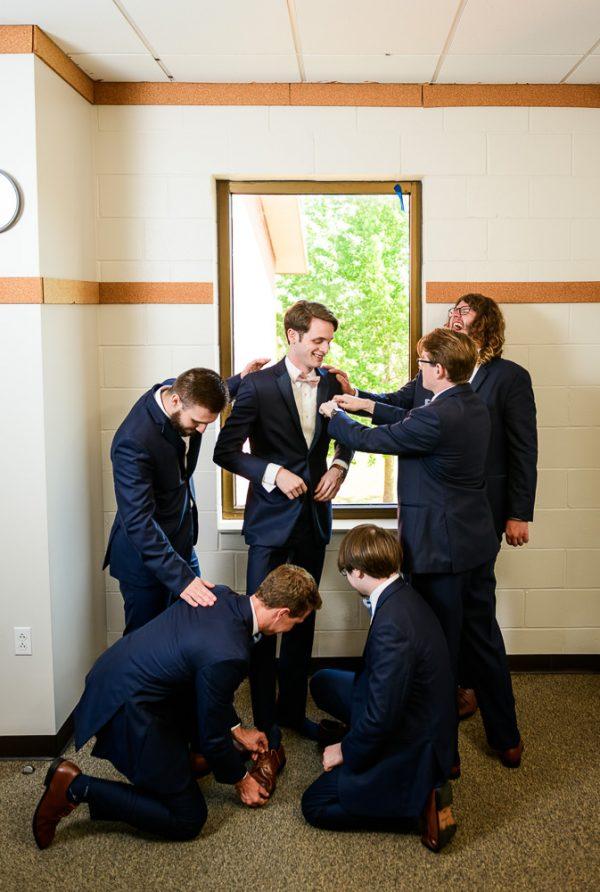 Groomsmen dressing Groom, Romantic Catholic Wedding, Pensacola Florida Wedding Photographer, Lazzat Photography