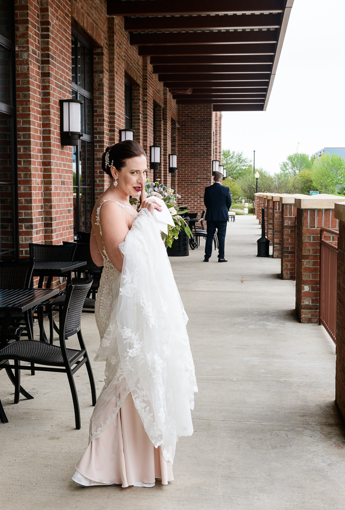 """Bride saying """"shh"""" before their first look, Classic Pensacola Wedding, Lazzat Photography, Florida Wedding Photographer"""