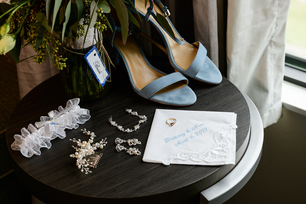 Blue bridal details, Classic Pensacola Wedding, Holiday Inn Express Pensacola Downtown, Lazzat Photography, Florida Wedding Photographer