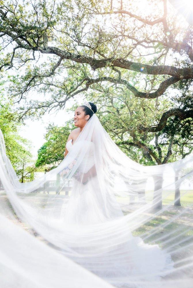 Bride with long veil, The Soundside Club, Elegant Ballroom Wedding, Lazzat Photography, Florida Wedding Photography