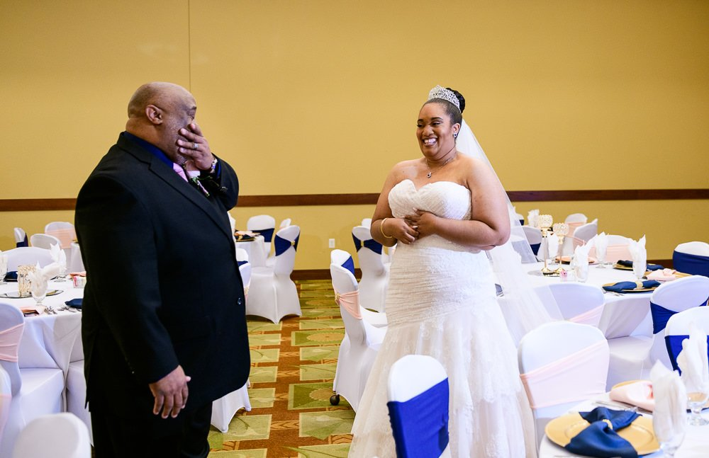Bride's first look with dad, Blue and Pink Wedding, The Soundside Club, Elegant Ballroom Wedding, Lazzat Photography, Florida Wedding Photography