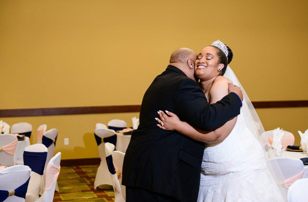 Bride hugging her dad, Blue and Pink Wedding, The Soundside Club, Elegant Ballroom Wedding, Lazzat Photography, Florida Wedding Photography