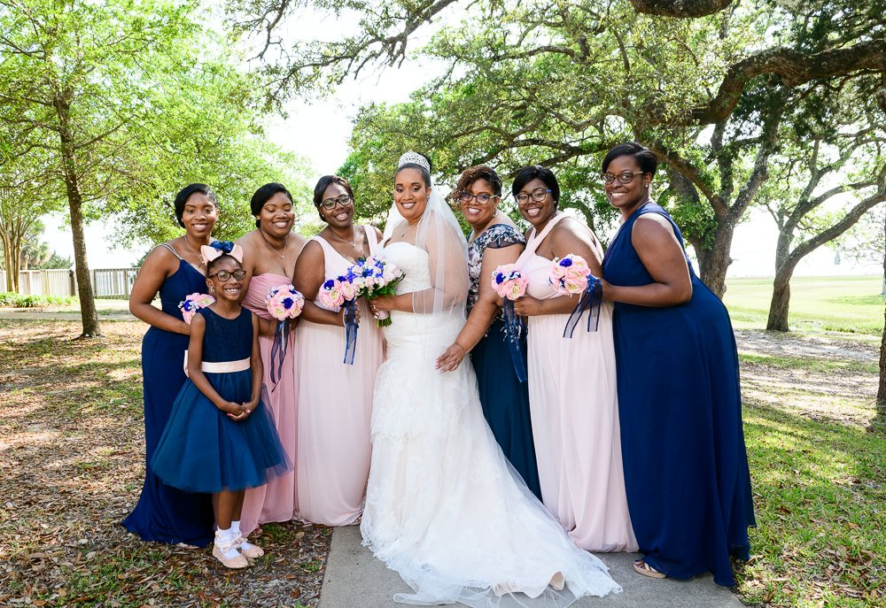 Bride with mom and Bridesmaids, Blue and Pink Wedding, The Soundside Club, Elegant Ballroom Wedding, Lazzat Photography, Florida Wedding Photography