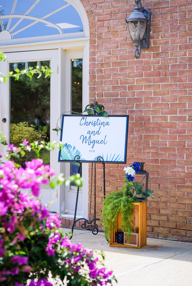 Welcome sign, The Garden Center, Pensacola Garden Wedding, Lazzat Photography, Florida wedding photographer photography